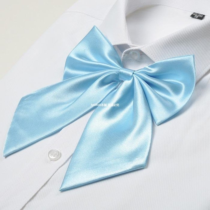 MONO本鋪 女士領花領結蝴蝶結純色領帶職業裝黑紅藍白綠黃空姐酒店前臺
