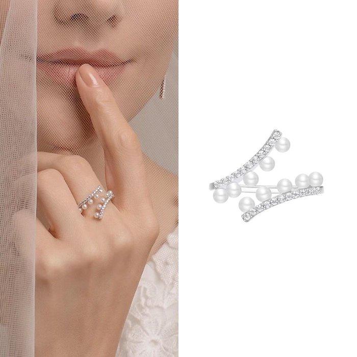 💎1093、哥德蕾絲系列 清澈晶鑽珍珠高雅戒指💎正韓 飾品 空運 珠寶 耳環ED036