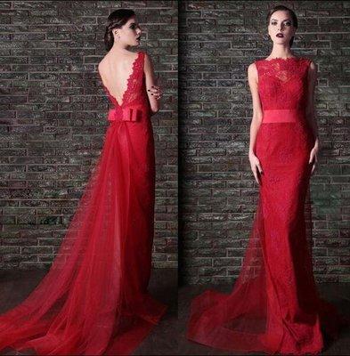 哈尼^蕾絲露背晚禮服長款齊地新娘禮服兩件套可拆拖紗新娘宴客禮服結婚晚宴服量身訂做
