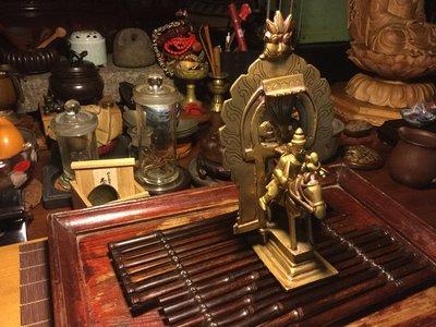 小西藏 藏傳佛教 戰神與坐騎 銅件佛像 保老 特殊稀少