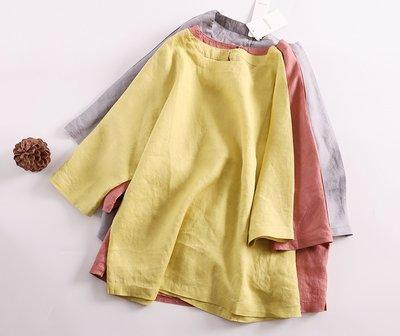【子芸芳】薄麻料~ 寬鬆7分蝙蝠袖T恤 日系上衣亞麻衫 顯瘦 夏季
