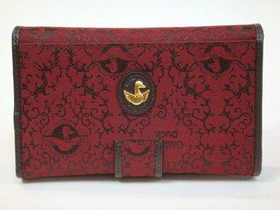 【菲歐娜】1998-(特價拍品)Gallant Duck(華麗鴨)真皮配針織緹花中夾(紅)DK-323-7