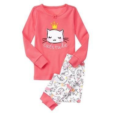 Ginny媽咪【Gymboree】全新含吊牌 女童貓咪長袖純棉睡衣套裝 (衣加褲) 12號