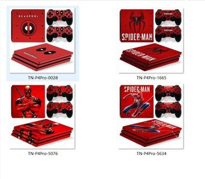 PS4 Pro主機貼膜 PS4 Pro游戲機貼紙 PS4 Pro 蜘蛛俠 死侍個性貼
