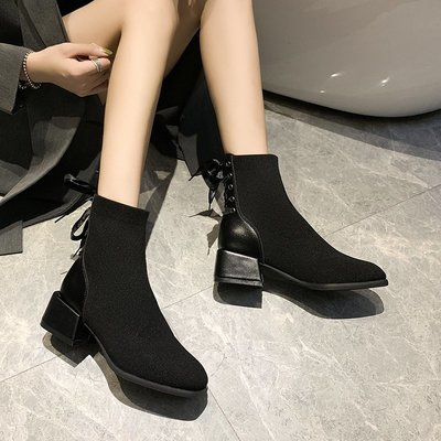 冬季保暖女靴 馬丁鞋 長靴機車靴 韓版百搭帥氣馬丁靴女春秋單靴韓版百搭粗跟短靴女中跟彈力瘦瘦靴