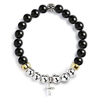 藤原本鋪 SOLO The Cross Natural Beaded Bracelet 十字架礦石串珠手環 黑瑪瑙