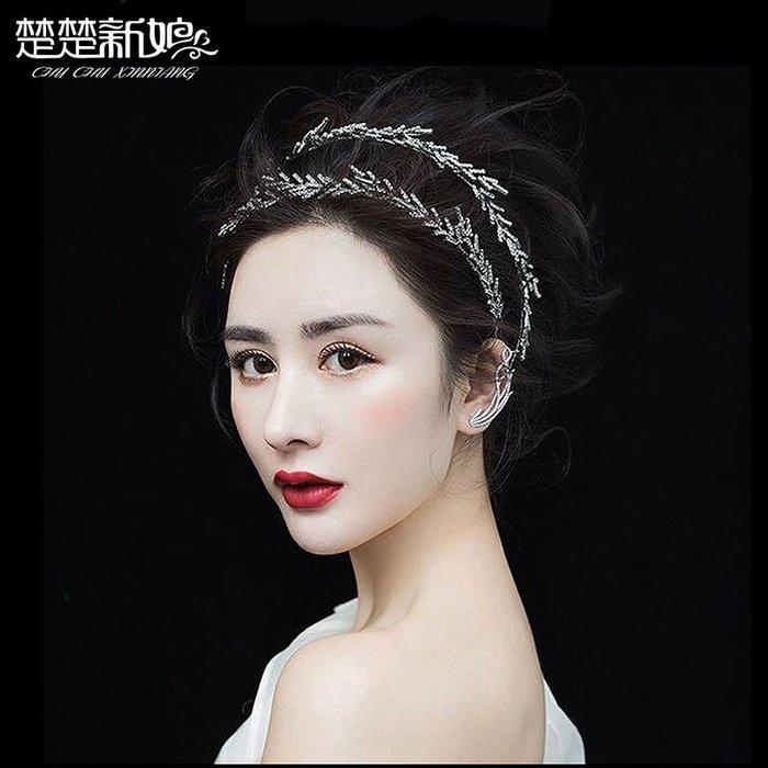 洛克小店結婚頭飾森系仙美韓式白色蝴蝶超仙發箍結婚紗禮服飾品