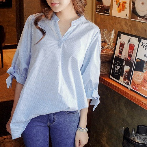 (XA-6855)條紋襯衫女夏裝女裝V領短袖襯衫