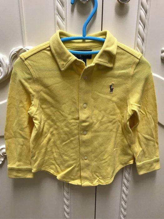 Ralph Lauren polo彩色小馬標黃色襯衫式上衣/24M
