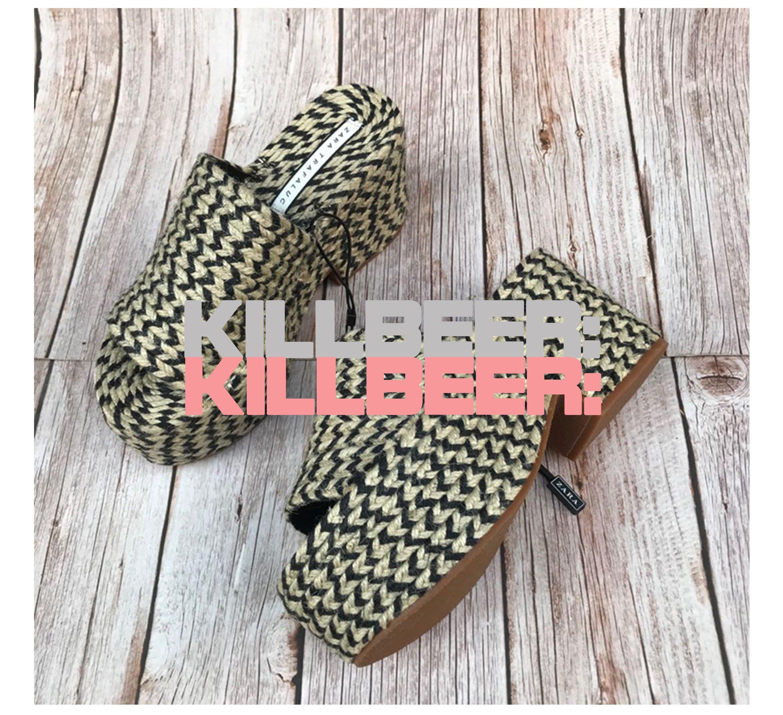 KillBeer:波希米亞嬉皮風之歐美復古ZARA品牌外流夏日度假風撞色麻繩編織超厚底露趾涼鞋高跟鞋恨天高A033012