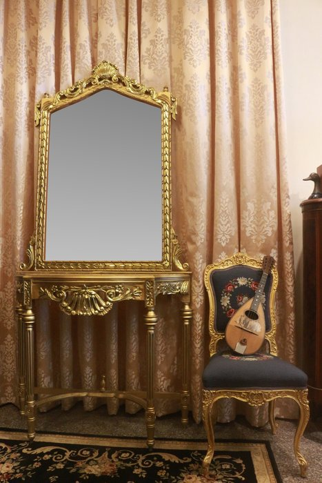【家與收藏】超值特價極品稀有珍藏歐洲古董法國凡爾賽華麗巴洛克手工雕花大理石大玄關桌鏡8