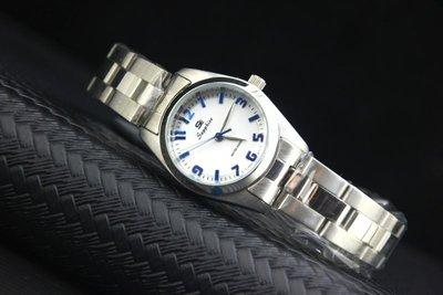 務實首選,台灣品牌SE國民時尚全不鏽鋼石英錶款, 藍色清晰刻度,白色面版,石英機心,有口皆碑