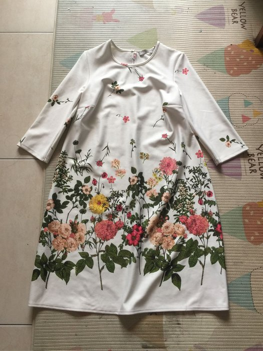 ASOS 白色印花七分袖洋裝 size 6
