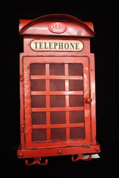 英式古典鐵皮電話亭造型鑰匙盒6勾+4掛勾 店面 民宿 居家 裝飾[布拉格家居]