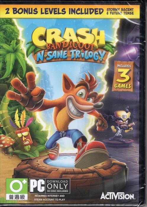 現貨中 PC遊戲 袋狼大進擊 瘋狂三部曲 Crash Bandicoot 英文版【板橋魔力】