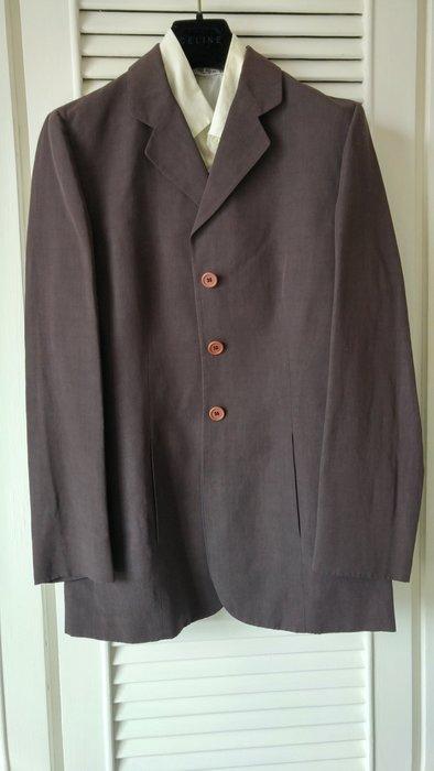 米蘭旗艦店【GIORGIO ARMANI 】【阿曼尼】黑標摩卡棕修身棉麻單排釦西裝外套