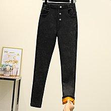 超大尺碼新款大碼加絨加厚彈力高腰外穿打底小腳褲保暖褲 B13