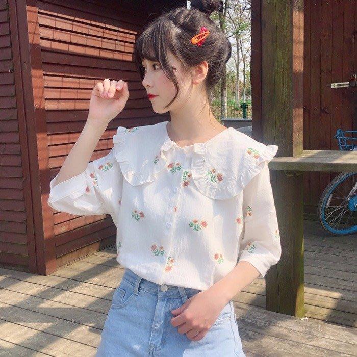 小香風 短袖T恤 時尚穿搭 很仙的碎花上衣 韓版 可愛復古少女感小清新 娃娃領 花朵襯衫短袖學生