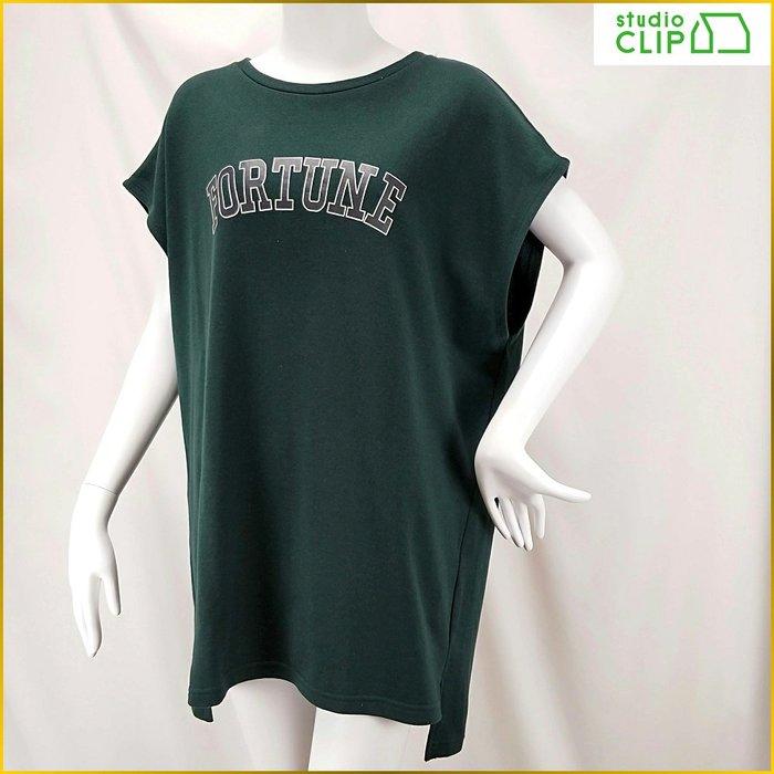 日本品牌✈️studio CLIP/深綠色/短袖/套頭衫/大寬鬆罩衫/長版舒適上衣/外套/女裝/L号/A0225S
