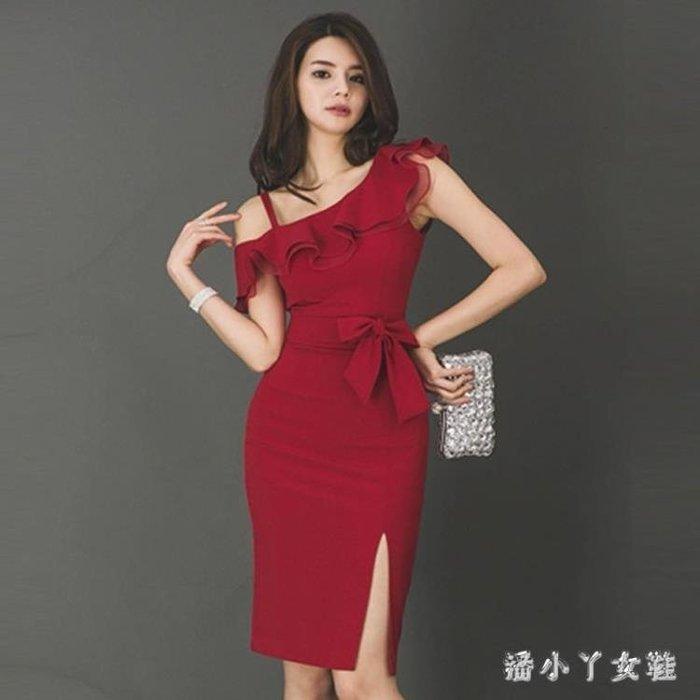 小禮服 中大尺碼洋裝裙顯瘦 新款宴會晚禮服性感氣質名媛聚會洋裝女 df5410- -獨品飾品吧☂