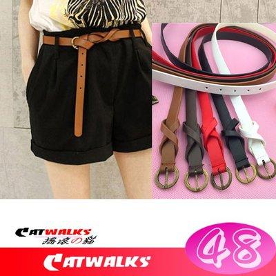 台灣現貨  * Catwalks 搖滾の貓 * 韓版復古風古銅色扣環8字裝飾簡約款細腰帶 ( 駝色、咖啡色、紅色、黑色