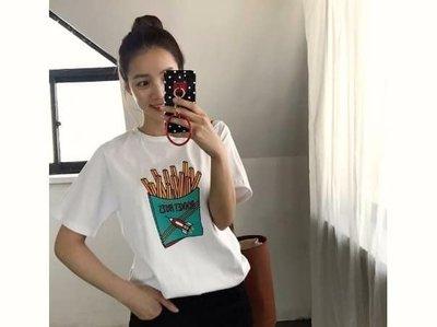 J&P korea 正韓 代購【JK17032401】ROCKET FRIES薯條上衣 黑/粉/藍/白(現貨)