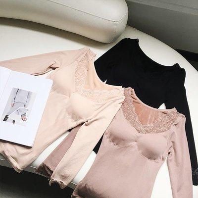 女裝冬季2019新款拼接蕾絲打底T恤女修身加絨加厚保暖內衣