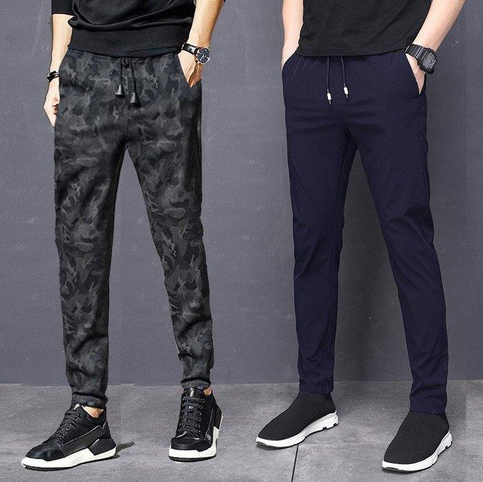 [C.M.平價精品館]M~3XL舒適簡單鬆緊腰圍雙口袋休閒運動長褲