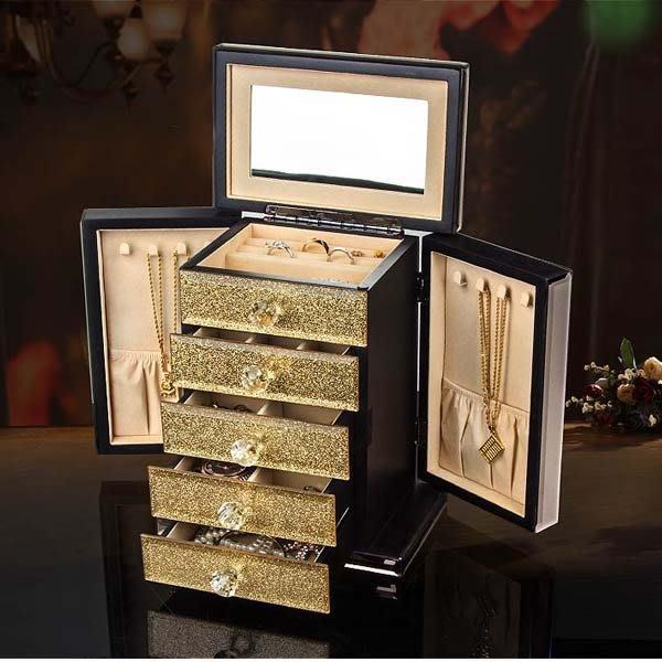 5Cgo【鴿樓】會員有優惠 539379448380 高檔耳釘項鏈戒指盒首飾盒公主日韓歐式玻璃多功能珠寶飾品收納盒