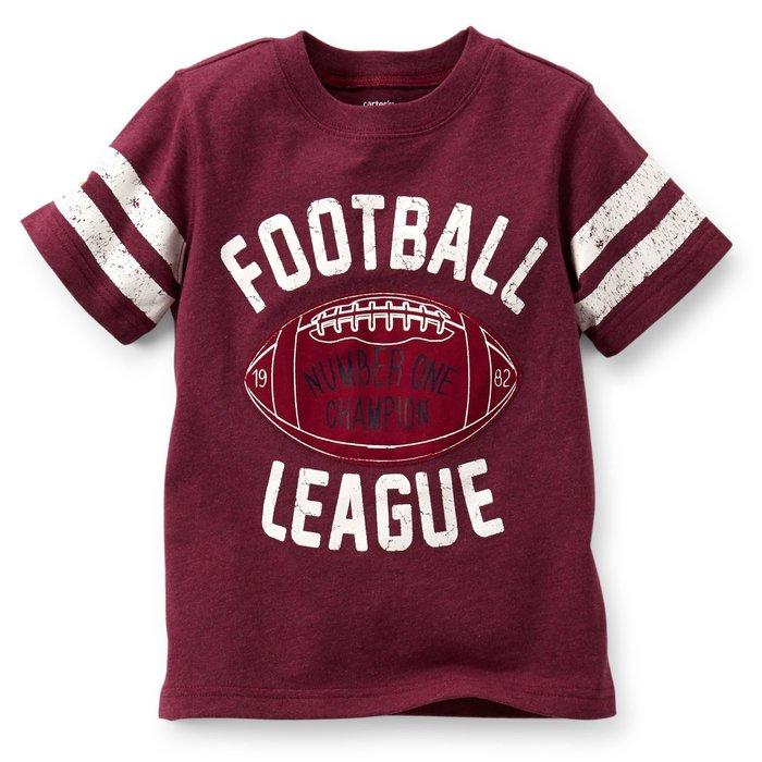 【Nichole's歐美進口優質童裝】Carter's男童深紅色拼布橄欖球棉質短袖上衣*Old Navy/OshKosh