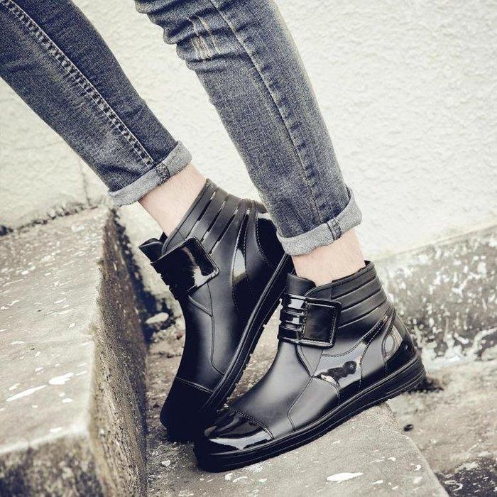 男士雨鞋低筒時尚魔術貼黑雨靴冬夏加棉學生休閒防滑防水鞋廚師鞋秋季上新