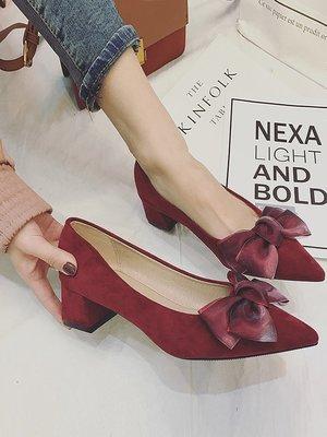 高跟鞋女春季2018新款百搭粗跟淺口蝴蝶結女鞋韓版時尚尖頭單鞋