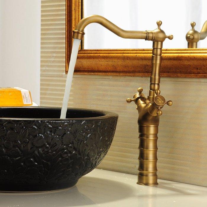 ABB160 仿古水龍頭 冷熱全銅復古歐式面盆龍頭加高單孔洗臉盆 臺上盆龍頭