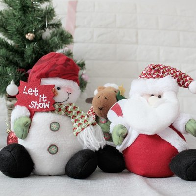 外貿聖誕節裝飾品老人雪人布藝公仔娃娃兒童禮物禮品櫥窗場景擺件