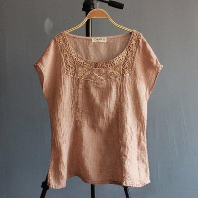 (老銀屋)夏季設計款/文藝百搭蕾絲貼布綉棉麻短袖上衣