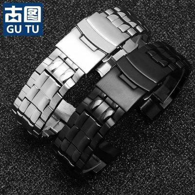 手錶配件錶帶精鋼手表帶適配卡西歐鋼帶三眼防水表帶EF-535D-7A系列金屬表鏈男 嘉義市