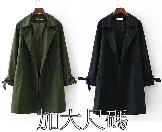 D190 秋季大碼韓版中長款寬鬆中長款風衣外套