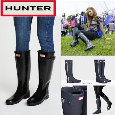 海外代購 正版hunter雨靴 refined款高長幫腰筒顯瘦版時尚英倫天然橡膠防水防滑雨鞋 女靴