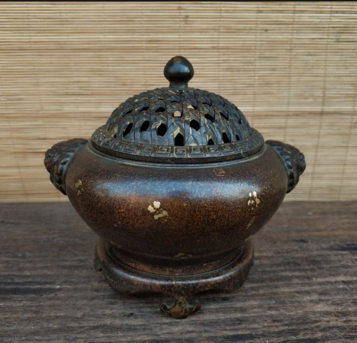 【禪那】銅爐 香爐 黃銅獅頭耳小薰爐 雅居茶舍客廳辦公室 禮佛供佛擺件2451