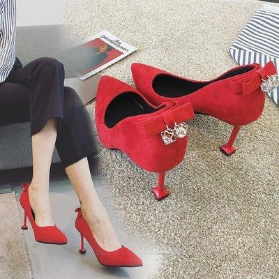 四季新韓版水?蝴蝶結後跟細跟淺口尖頭紅色婚鞋高跟鞋單鞋女   全館免運