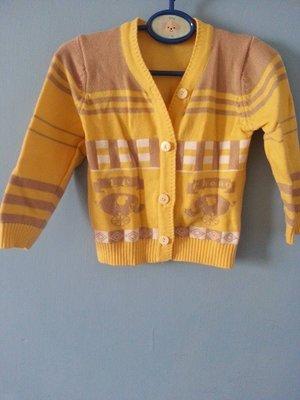 極新 新生嬰兒/BABY/寶寶 保暖秋冬款 厚針織外套 嫩黃系可愛大象款 1元起標