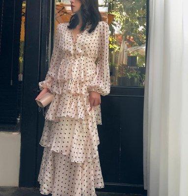 澳洲早秋貴喬其絲金線波點蛋糕式禮服高腰V領荷葉邊連衣裙女洋裝   全館免運
