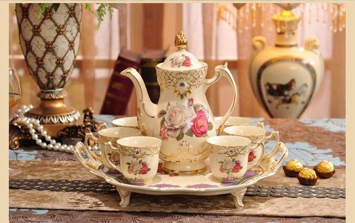 粉紅瑰精品屋~歐式高檔陶瓷咖啡杯禮盒 英式下午茶咖啡杯套裝~