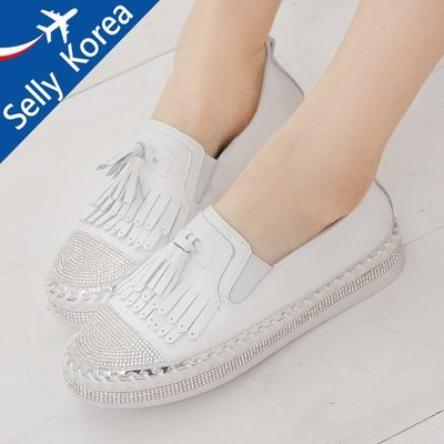 正韓 牛皮 水鑽 流蘇 小白鞋 懶人鞋 厚底鞋-Selly-沙粒-(KR202)2色