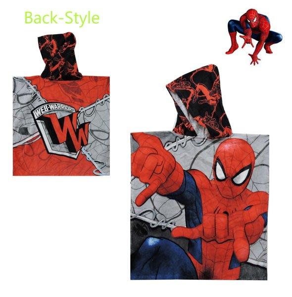 蜘蛛人SPIDER MAN印圖刷白處理灰底款連帽浴巾(兒童適用)手手可以伸出來喲…