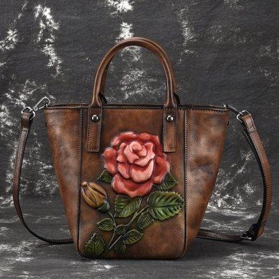 [包妳喜歡]新款樹高皮提包手工擦色復古單肩包繪色歐美單肩斜跨包休閑女包011