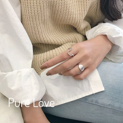Pure Love樂芙 /正韓 【R0391】韓系簡約S925純銀幾何橢圓面U形曲線開口戒指 / 二款