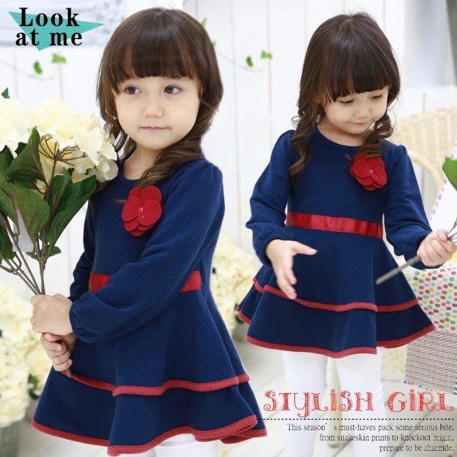 韓版《花朵燕尾裙》甜美長袖洋裝 (J3-5)