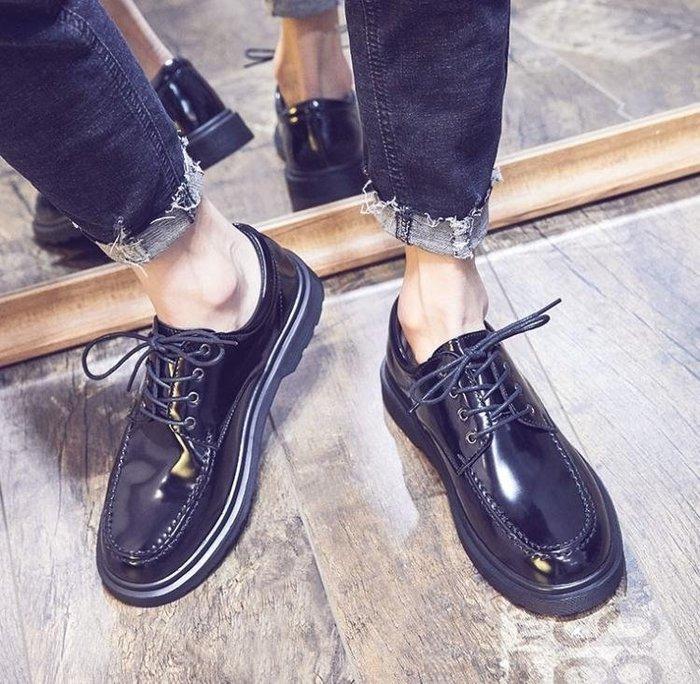 春季百搭休閒皮鞋男英倫學生正裝圓頭正韓潮流黑色小皮鞋潮男鞋子
