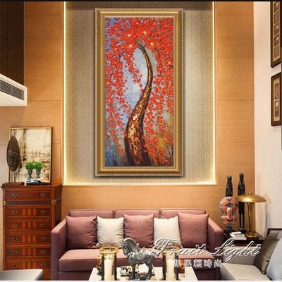 ☜男神閣☞油畫 歐式客廳裝飾畫油畫手繪立體玄關掛畫走廊豎版抽象壁畫髮財樹